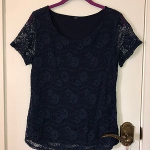 Tops - Navy blue lace overlay top size med.